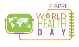 Logo créatif de salutation de jour de santé du monde, signe, symbole Vecteur courant illustration de vecteur