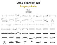 Logo creation kit bundle. Camping Edition set. Ribbons vector shapes and elements Create your own outdoor label. Wilderness retro patch, adventure vintage Stock Photo