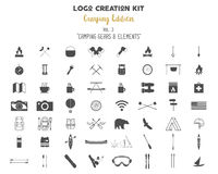 Logo creation kit bundle. Camping Edition set. Travel gear, vector camp symbols and elements.. Create your own outdoor label, wilderness retro patch, adventure Stock Photo