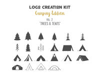 Logo creation kit bundle. Camping Edition set. Trees vector shapes and tents elements. Create your own outdoor label. Wilderness retro patch, adventure vintage Stock Image