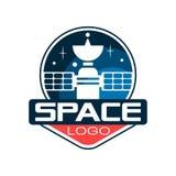 Logo creativo con il satellite cosmico Astronautica e tecnologia spaziale Progetto di scienza Icona nello stile del profilo piano illustrazione di stock
