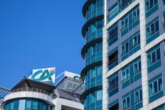 Logo of Credit Agricole on their local headquarters for Serbia. Credit Agricole Srbija is one of the French leading retail banks. Picture of the Credit Agricole royalty free stock photos