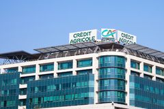 Logo of Credit Agricole on their local headquarters for Serbia. Credit Agricole Srbija is one of the French leading retail banks. Picture of the Credit Agricole stock photography