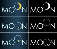 Logo crescente di affari della luna astratta dell'iscrizione fotografie stock