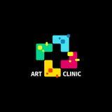 Logo croisé coloré abstrait d'isolement Logotype médical Hôpital, ambulance, icône de clinique Tuile de mosaïque géométrique de f illustration de vecteur