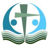 Logo croisé de Sainte Bible illustration de vecteur