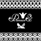 Logo with a crown princess, lettering and lace Stock Photos