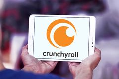 Crunchyroll Video streaming service logo. Logo of Crunchyroll Video streaming service on samsung tablet. Crunchyroll is an American distributor, publisher royalty free stock photography