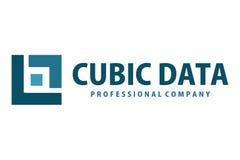 Logo cubico di dati Fotografie Stock