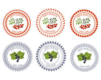 Logo currant and rowan design element package Stock Photos