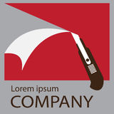 Logo cutter knife. Logo or symbol of your company, Vector illustration in flat style Royalty Free Stock Images