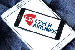 Czech Airlines logo. Logo of Czech Airlines on samsung mobile. Czech Airlines is the national airline of the Czech Republic Stock Image