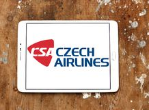 Czech Airlines logo. Logo of Czech Airlines on samsung tablet. Czech Airlines is the national airline of the Czech Republic Stock Image