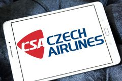 Czech Airlines logo. Logo of Czech Airlines on samsung tablet. Czech Airlines is the national airline of the Czech Republic Stock Images