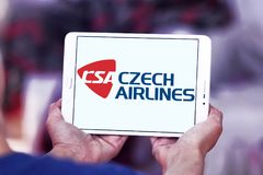 Czech Airlines logo. Logo of Czech Airlines on samsung tablet. Czech Airlines is the national airline of the Czech Republic Royalty Free Stock Photos