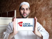 Czech Airlines logo. Logo of Czech Airlines on samsung tablet holded by arab muslim man. Czech Airlines is the national airline of the Czech Republic Royalty Free Stock Photos
