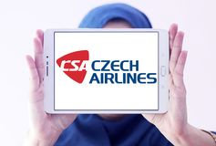 Czech Airlines logo. Logo of Czech Airlines on samsung tablet holded by arab muslim woman. Czech Airlines is the national airline of the Czech Republic Stock Photos