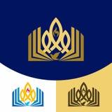 Logo d'église Symboles chrétiens L'évangile, la bible, la flamme du Saint-Esprit, une colombe et un symbole de Jesus Christ - un  illustration de vecteur
