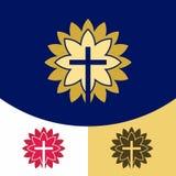 Logo d'église Symboles chrétiens La croix de Jesus Christ dans le rayonnement de la gloire du ` s de Dieu illustration libre de droits