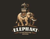 Logo d'éléphant d'Asie - dirigez l'illustration, emblème sur le fond foncé illustration de vecteur