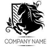 Logo d'élite avec le cheval illustration de vecteur