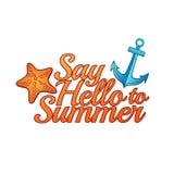 Logo d'été La bannière indiquent bonjour à l'été Icône d'été, logo, bannière Photo stock