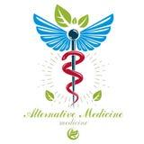 Logo d'abrégé sur vecteur d'Aesculapius, symbole de caducée composé avec des ailes d'oiseau pour l'usage dans médical illustration stock
