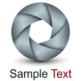 Logo 3D abstract lens. Design and vector shutter Stock Photos