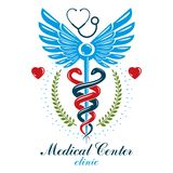 Logo d'affaires d'abrégé sur vecteur d'Aesculapius pour l'usage dans le traitement médical Prévention des maladies de système car illustration stock
