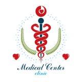 Logo d'affaires d'abrégé sur vecteur d'Aesculapius pour l'usage dans le tre médical illustration de vecteur