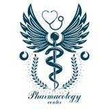 Logo d'affaires d'abrégé sur vecteur d'Aesculapius pour l'usage dans le tre médical illustration libre de droits