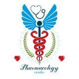 Logo d'affaires d'abrégé sur vecteur d'Aesculapius pour l'usage dans le tre médical illustration stock