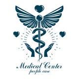 Logo d'affaires d'abr?g? sur vecteur d'Aesculapius pour l'usage dans le traitement m?dical Pr?vention des maladies de syst?me car illustration stock