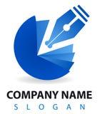 Logo d'affaires : un crayon lecteur et un encrier encastré bleus Photos libres de droits