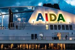 Logo d'AIDA sur le bateau de croisière d'Aida Sol AIDAsol photographie stock libre de droits
