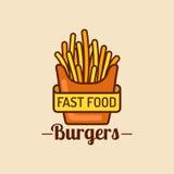 Logo d'aliments de préparation rapide de vintage de vecteur Rétro signe de pommes de terre de friture Icône de Bistros Emblème de Images libres de droits