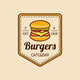 Logo d'aliments de préparation rapide de vintage de vecteur Signe de Burge Icône de Bistros Emblème de restaurant pour le restaur Photo libre de droits