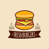 Logo d'aliments de préparation rapide de vintage de vecteur Signe de Burge Icône de Bistros Emblème de restaurant pour le restaur Photos stock