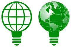 Logo d'ampoule de globe du monde Photo libre de droits