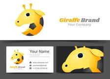 Logo d'animal sauvage de girafe et signe d'entreprise de carte de visite professionnelle de visite Images libres de droits