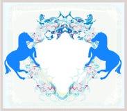 Logo d'annata astratto dei cavalli Immagine Stock