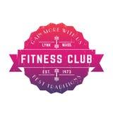 Logo d'annata del club di forma fisica, distintivo di vettore, emblema Immagine Stock