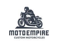 Logo d'annata del motociclo del corridore del caffè Fotografie Stock
