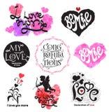 Logo d'annata di amore Ami il segno di calligrafia Logo romanzesco illustrazione vettoriale