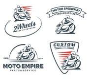 Logo d'annata, distintivi ed emblemi del motociclo del corridore del caffè Fotografie Stock