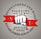 Logo d'annata, distintivo o emblema di arti marziali Illustrazione di vettore Fotografie Stock