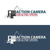 Logo d'appareil-photo d'action Appareil-photo pour des sports actifs Ultra HD 4K Photographie stock libre de droits