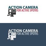 Logo d'appareil-photo d'action Appareil-photo pour des sports actifs Ultra HD 4K Image stock
