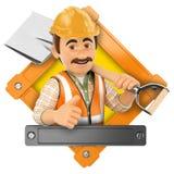 logo 3d Arbetare med skyffeln Royaltyfri Foto