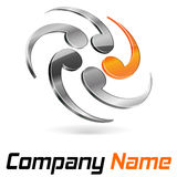 Logo 3d branding abstract. Chrome and orange for company and business name stock illustration